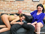 Horny old couple sucks stripper