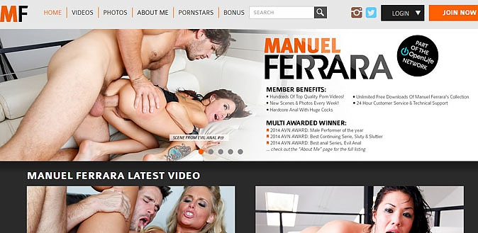 12/19/14 - 5 time AVN PMale Performer of the Year, Manuel Ferrara and his official site reviewed