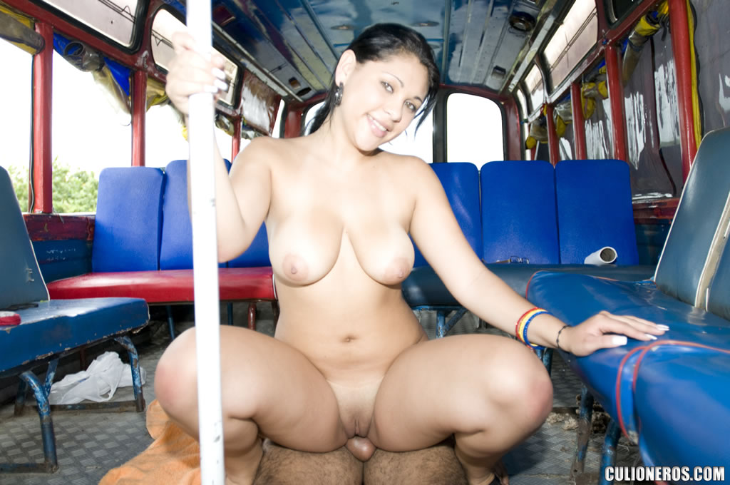 There are plenty of seats on the bus, but, shapely babe with nice tits choose to sit on a shaft