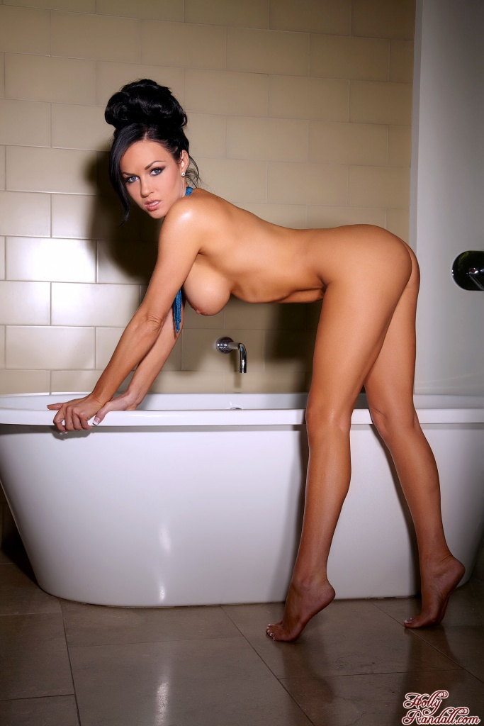 This brunette enjoys getting clean in such a dirty way, as her big tits nearly scream for suction