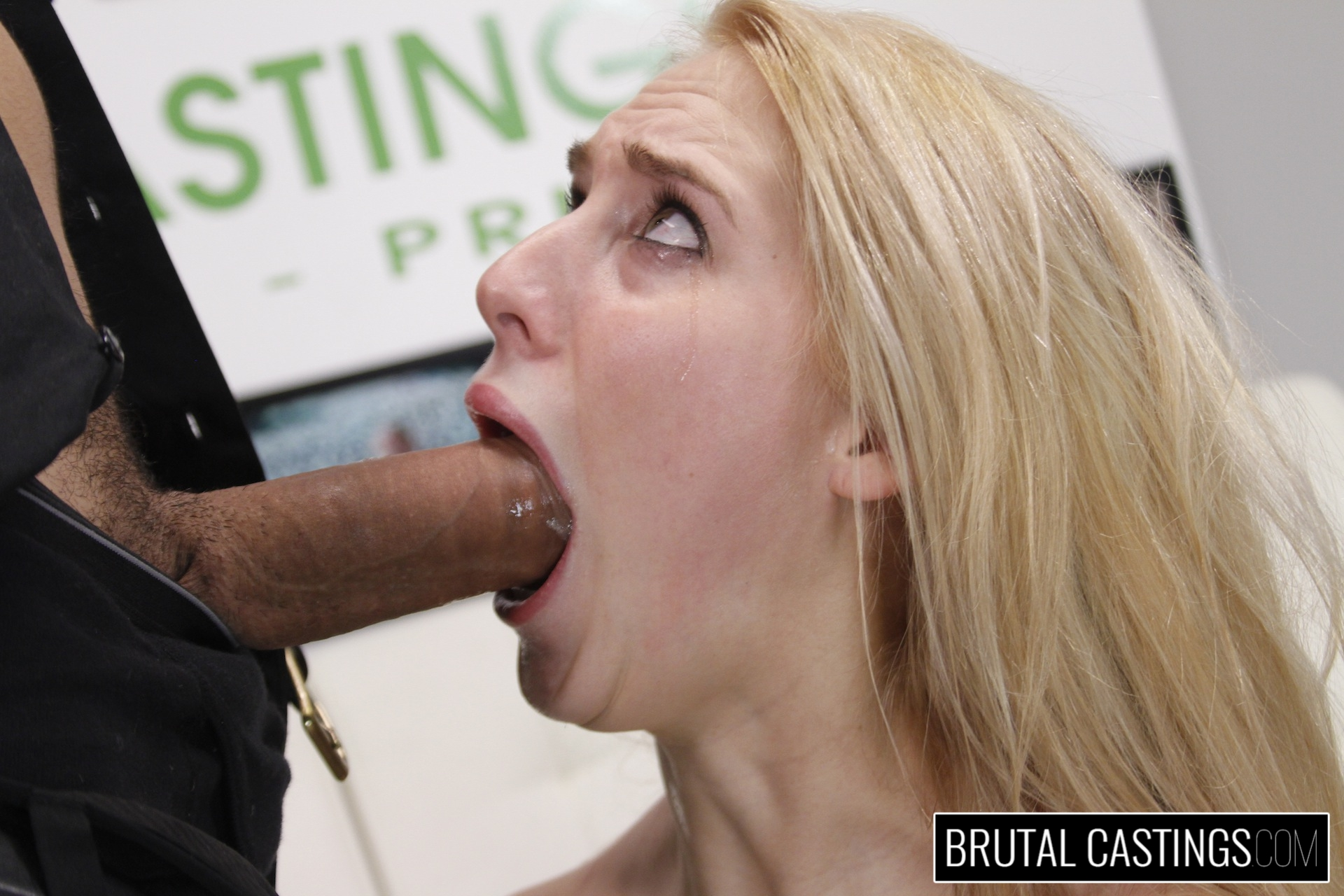Blonde brutal blowjob
